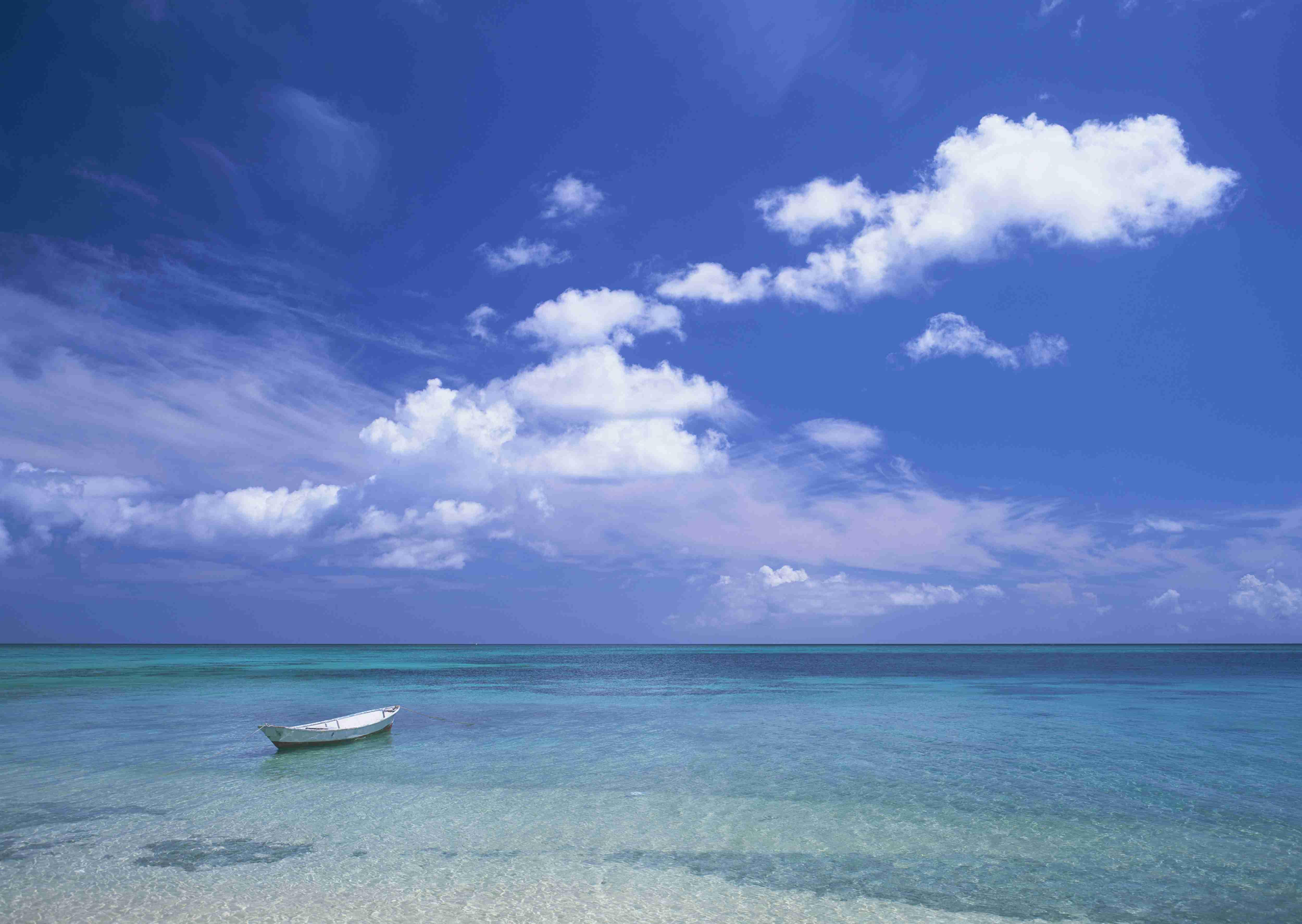 голубое небо, море